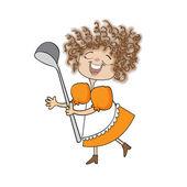 Wifehouse with big ladle. Comic vector cartoon — Stock Photo