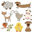 Illustration of isolated farm animals set on white background — Stock Photo
