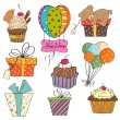 Royalty-Free Stock Photo: Birthday items collection on white background