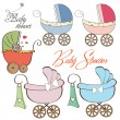 Cartoon prams collection on white background — Stock Photo