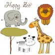 Vector illustration of cute wild animal set including giraffe, zebra, lion and elephant — Stock Photo
