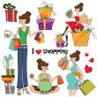 Girls at shopping items set on white background — Stok fotoğraf
