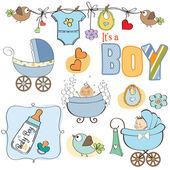 宝宝男孩淋浴元素设置隔离在白色背景 — 图库照片