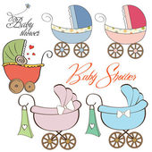 Cartoon prams collection on white background — 图库照片