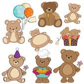 Set of different teddy bears items for design in vector format — Foto Stock