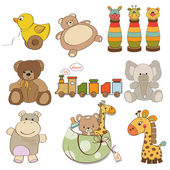 Illustration of different toys items for baby — Stock Photo