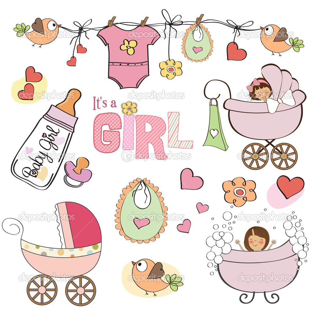 Baby girl shower elements set isolated on white background — Stock