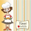 Royalty-Free Stock Photo: Birthday greeting card with funny woman and pie
