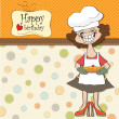 Birthday greeting card with funny woman and pie  — Stock Photo