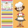 Birthday greeting card with funny woman and pie — Stock Photo #10565017