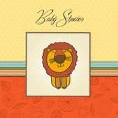 Childish baby shower card with cartoon lion — Stock Photo