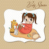 Little baby girl play with her toy baby shower card — Stock Photo