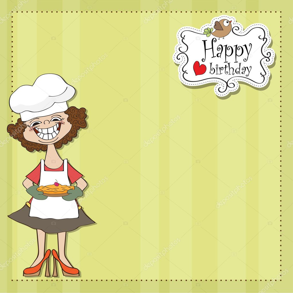 Birthday greeting card with funny woman and pie  — Stock Photo #10565044