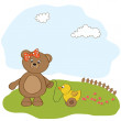 Cute greeting card with boy teddy bear — Stock Photo #7995272