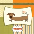 Stock Photo: Funny baby shower card with long dog