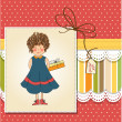 Girl with gift on Birthday card — Stock Photo