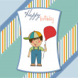 Boy with balloon on Birthday card — Stock Photo