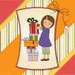 Cute little girl hidden behind boxes of gifts. — Stock Photo