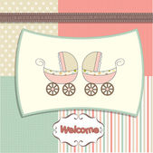 Baby shower announcement card with prams — Stock Photo