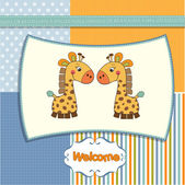 Greeting card with giraffes — Stock Photo