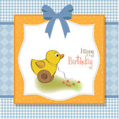 Welcome baby card with duck toy — Stock Photo