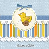 Dziecko prysznicem ogłoszenie karty z kaczka — Zdjęcie stockowe