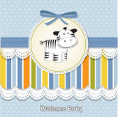 Cute baby shower card with zebra — Stock Photo