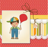 Boy with balloon on Birthday card — Стоковое фото