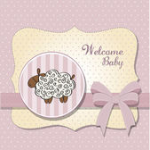 Cute baby shower card with sheep — Stock Photo