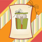 Greeting card with elephant in gift box — Stock Photo