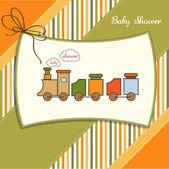 Greeting card with toy train — Stock Photo