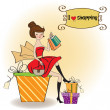 Pretty young lady happy after shopping — Foto Stock