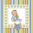 Greeting card with baby boy - Foto Stock
