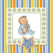 Greeting card with baby boy - Stok fotoraf