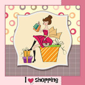 Pretty young lady happy after shopping — Stock Photo