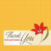 Thank you greeting card with flower — Stock Photo