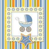 Baby shower announcement card with pram — Stockfoto