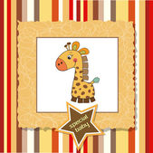 Shower card with giraffe toy — Стоковое фото