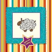 Cartão de chuveiro de bebê fofo com ovelhas — Foto Stock