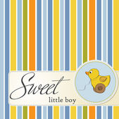 Cute baby shower card with dukc — Stock Photo