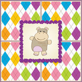 Greeting card with hippo — Stock Photo