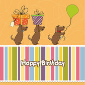 Three dogs that offer a big gift. birthday greeting card — Stock Photo