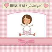 Greeting card with baby girl — Stock Photo