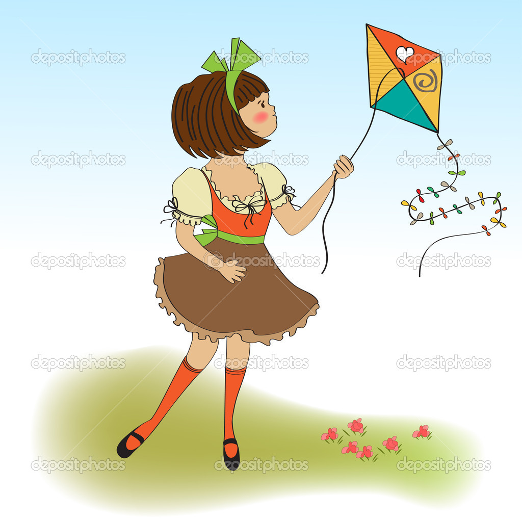 Cute teens who are playing with a kite   Stock Photo #8086844