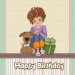 Birthday greeting card with pretty little girl — Stock Photo #8420656