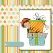 Cute little girl hidden behind boxes of gifts. happy birthday greeting card — Stock Photo #8543550