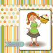 Birthday greeting card with girl and big cupcake — Stock Photo