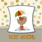 Baby shower card with little bird stand in the rain — Stock Photo