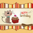 Birthday greeting card with a cat waiting to eat a cake — Stock Photo #8619336