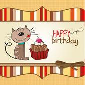 Carte de voeux d'anniversaire avec un chat en attente de manger un gâteau — Photo
